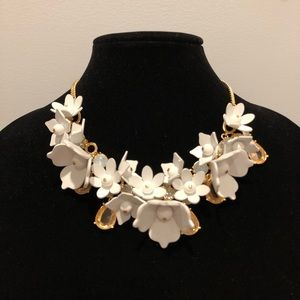 NWT J. Crew Leather flower statement necklace